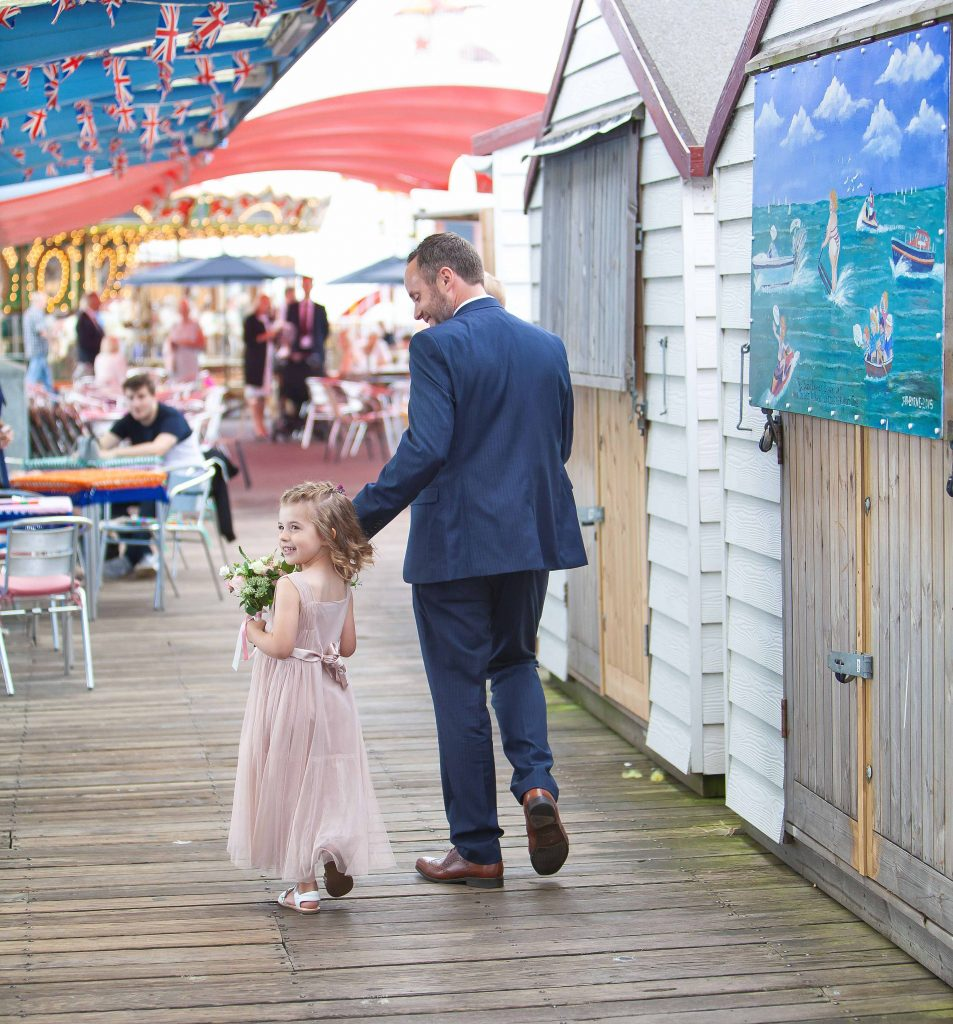 groom with daughter at Herne bay wedding