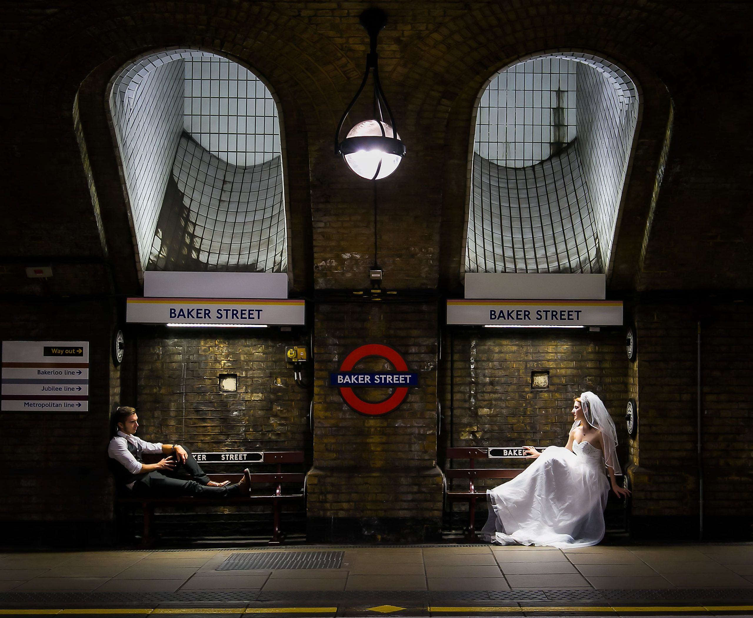 Bride and Groom portrait at Baker Street tube station in London