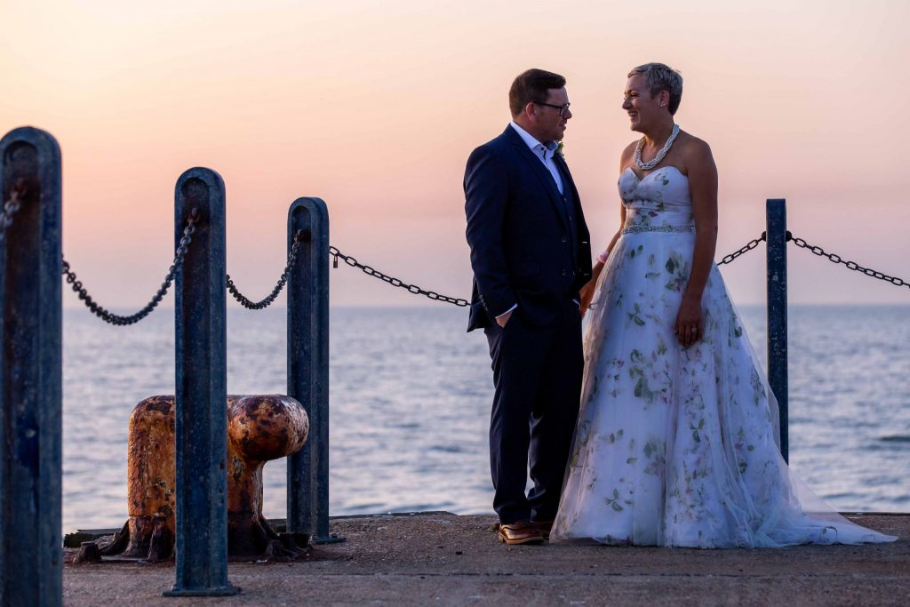 bride and groom wedding portrait at East Quay wedding venue