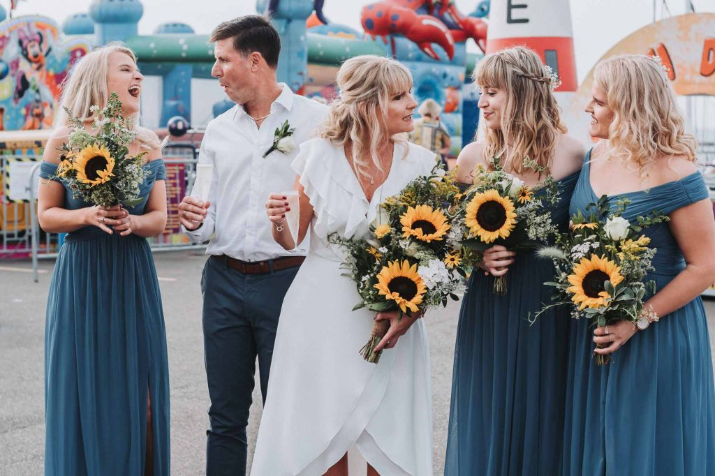 bridal party on Herne Bay Pier