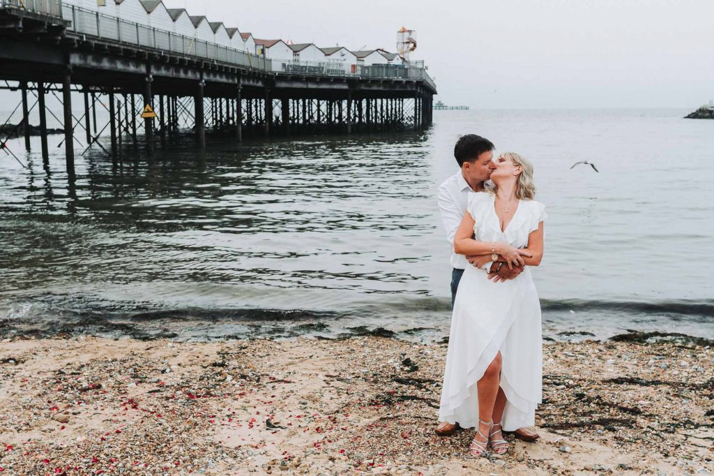 bride and groom wedding portrait on Herne Bay beach