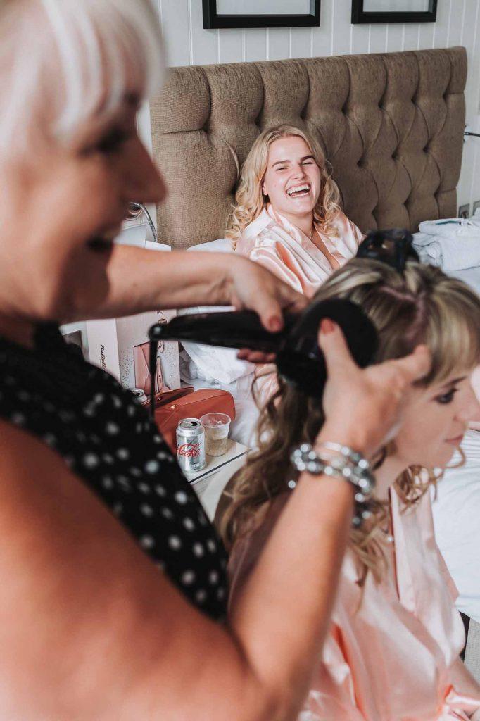Bridal prep at Marine Hotel, Tankerton