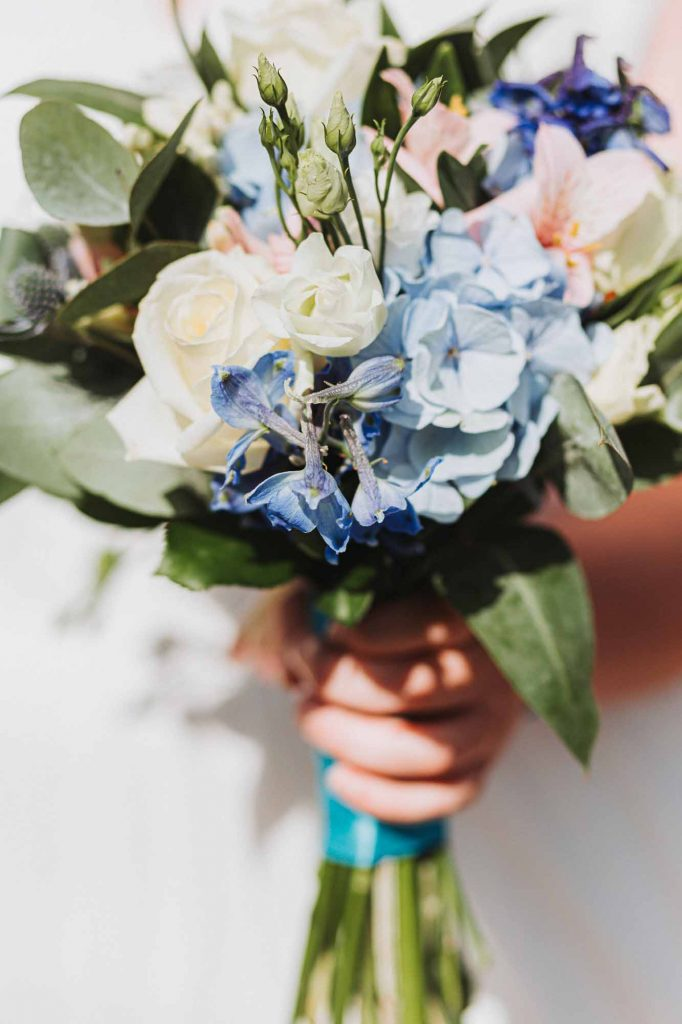 cream and blue wedding bouquet