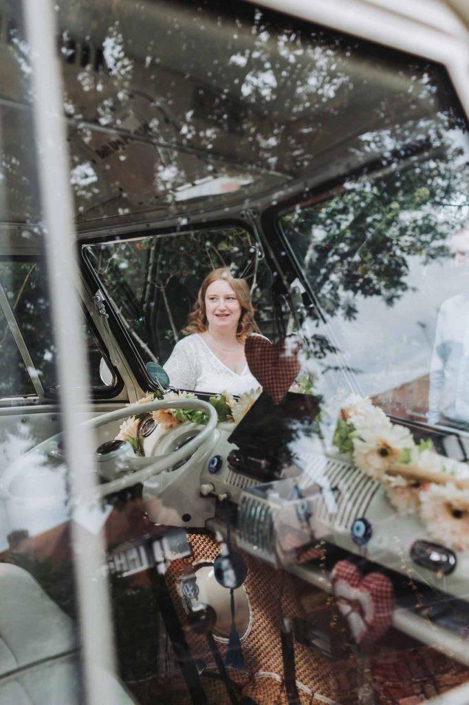 bride with campervan