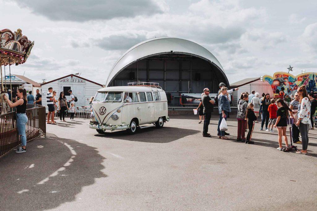 campervan andwedding guests at beach hut wedding venue in herne bay