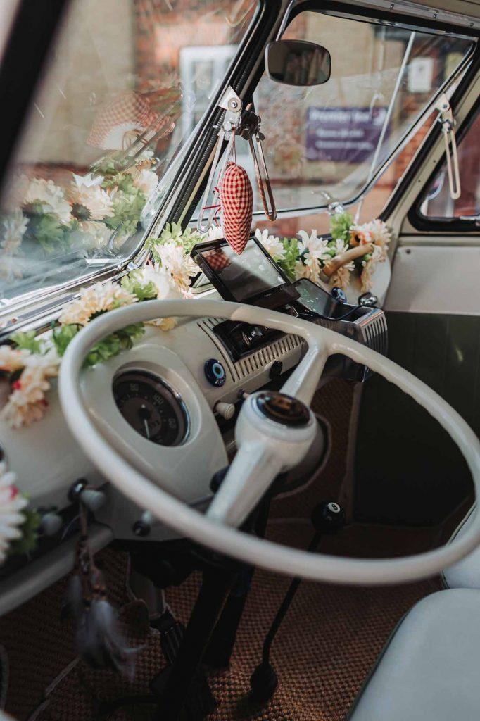 volkswagen camper van wedding car