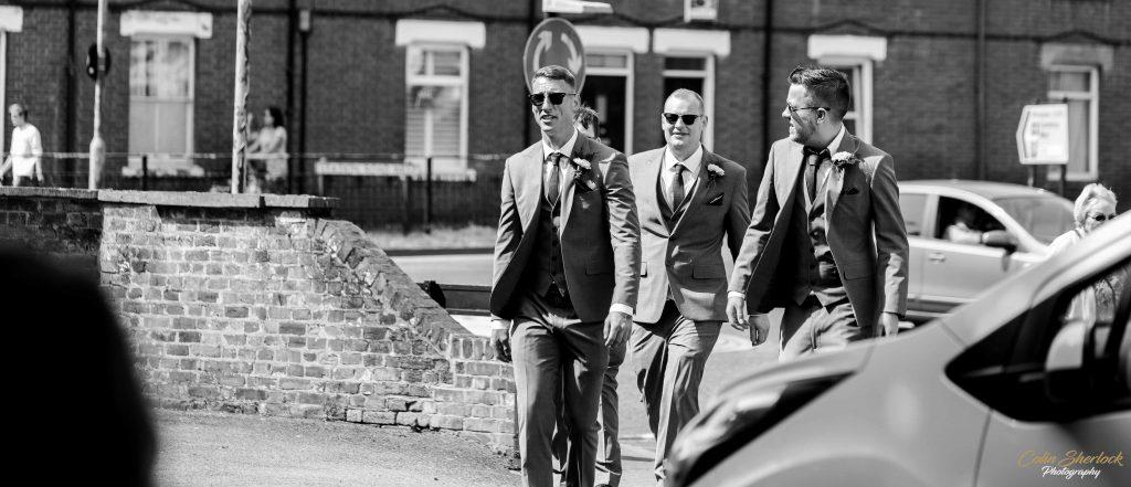 groom and best men arriving