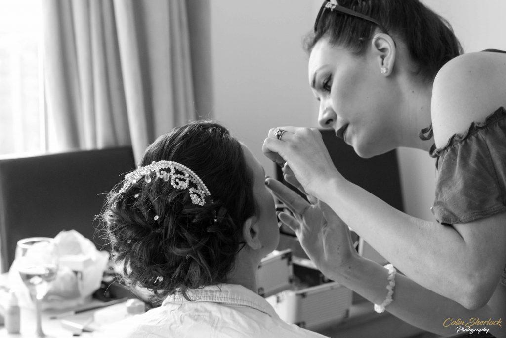 makeup in bridal prep