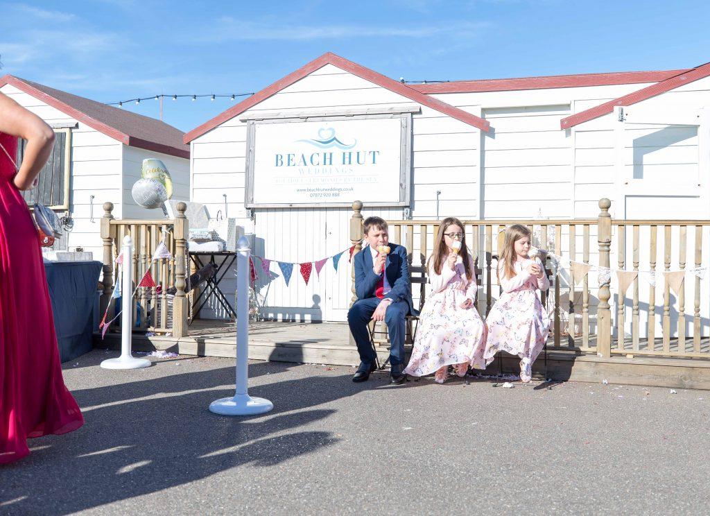 children eating ice cream at wedding on herne bay pier