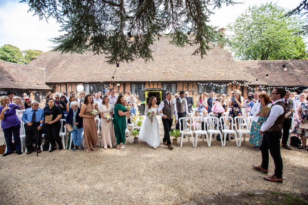 outdoor wedding ceremony at Chilham village hall
