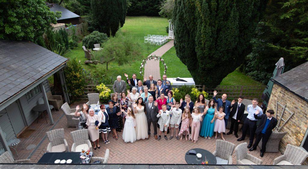 big group shot at wedding