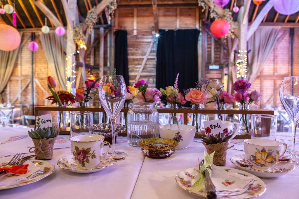 table settings at preston court wedding venue