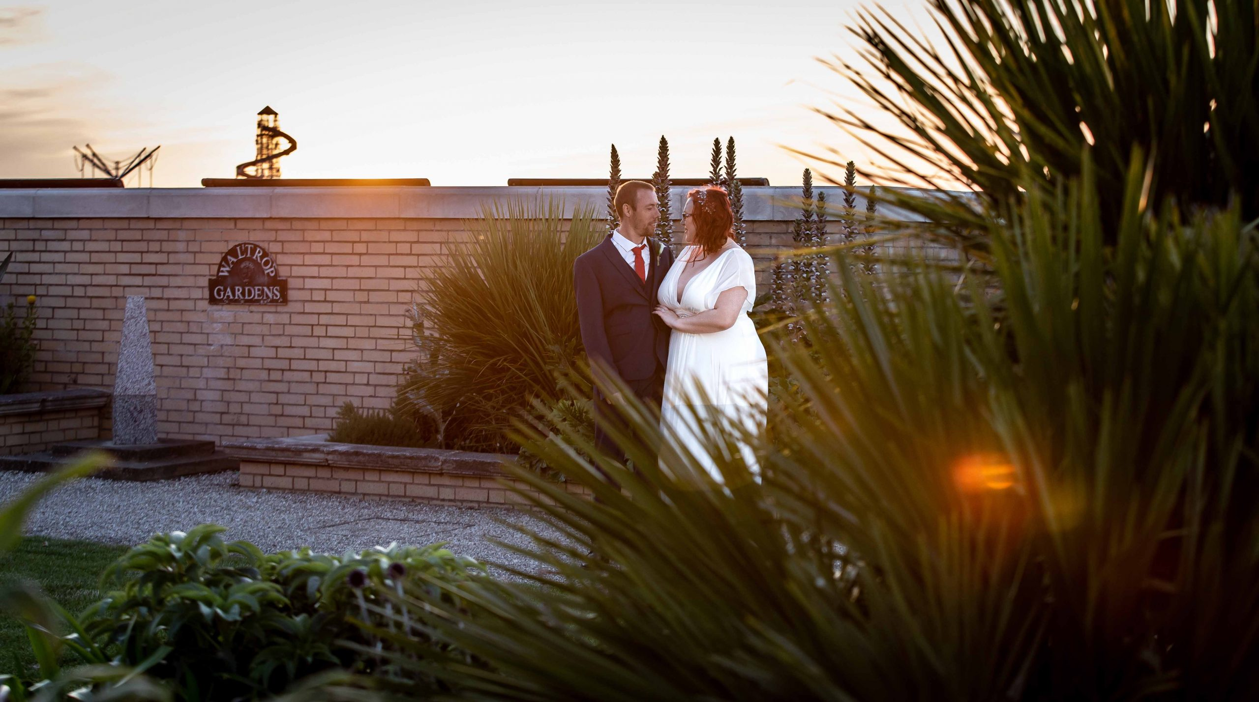 bride and groom wedding portrait in seafront gardens in herne bay