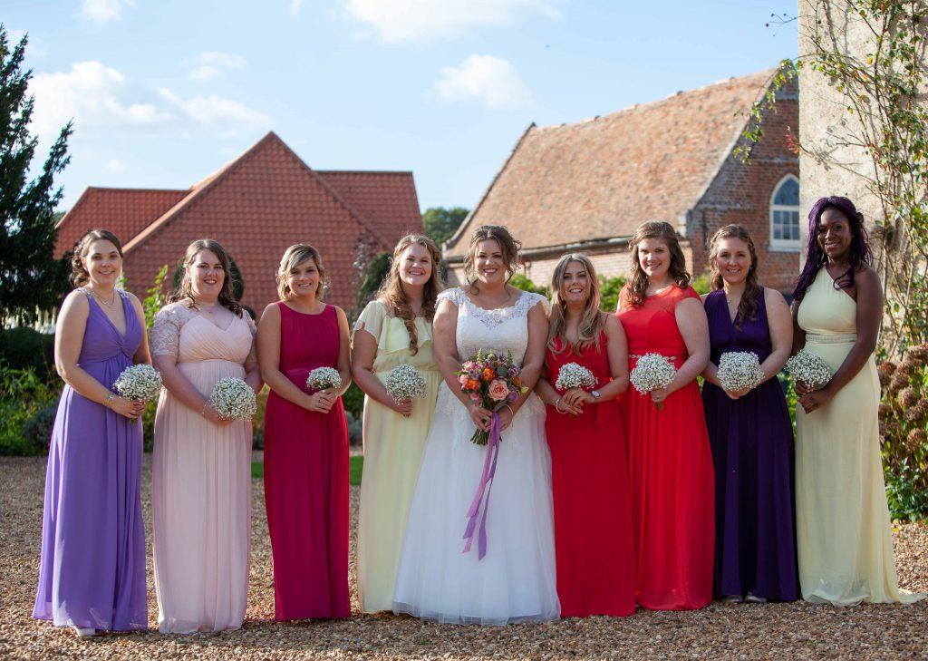 bride with bridesmaids at preston court