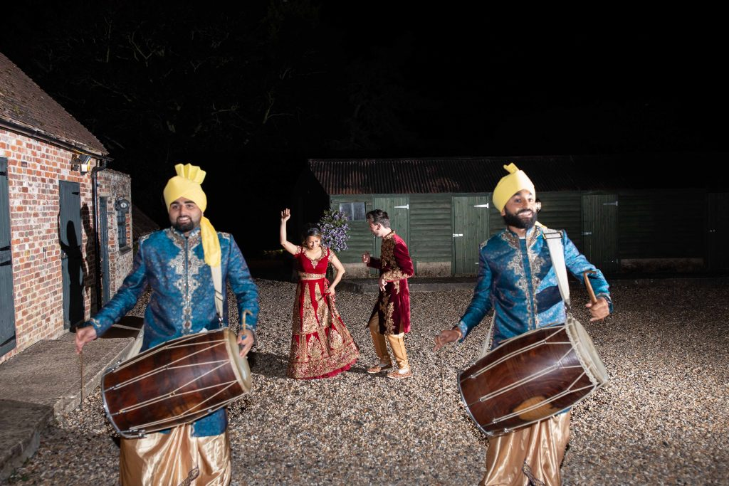 indian dhol drummers at wedding