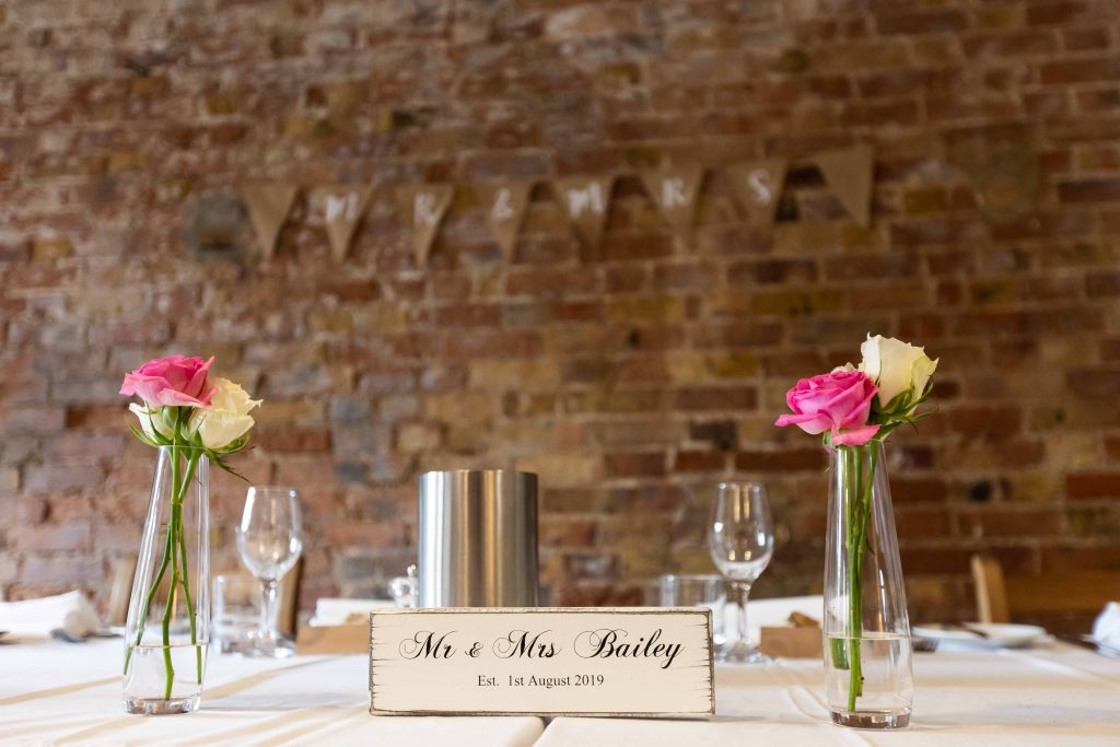 head table settings at wedding