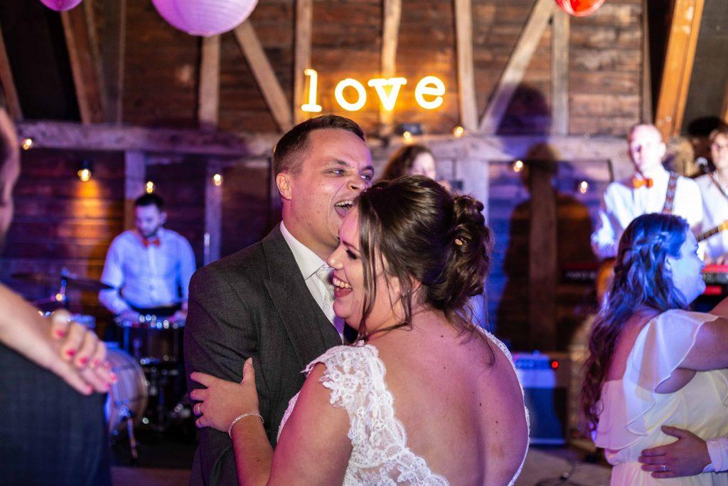 bride and groom at preston court wedding