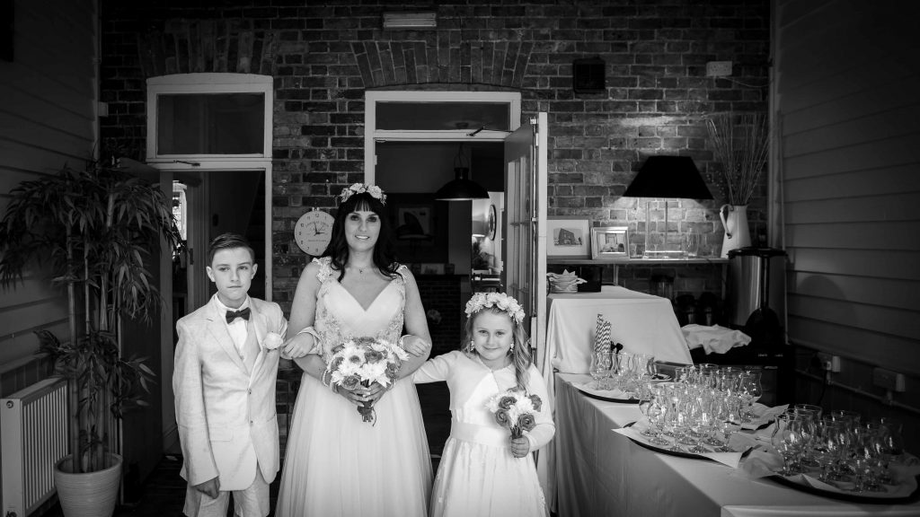 bride with son and daughter