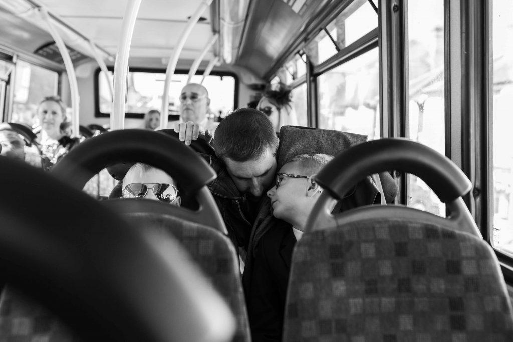 wedding guests on wedding bus