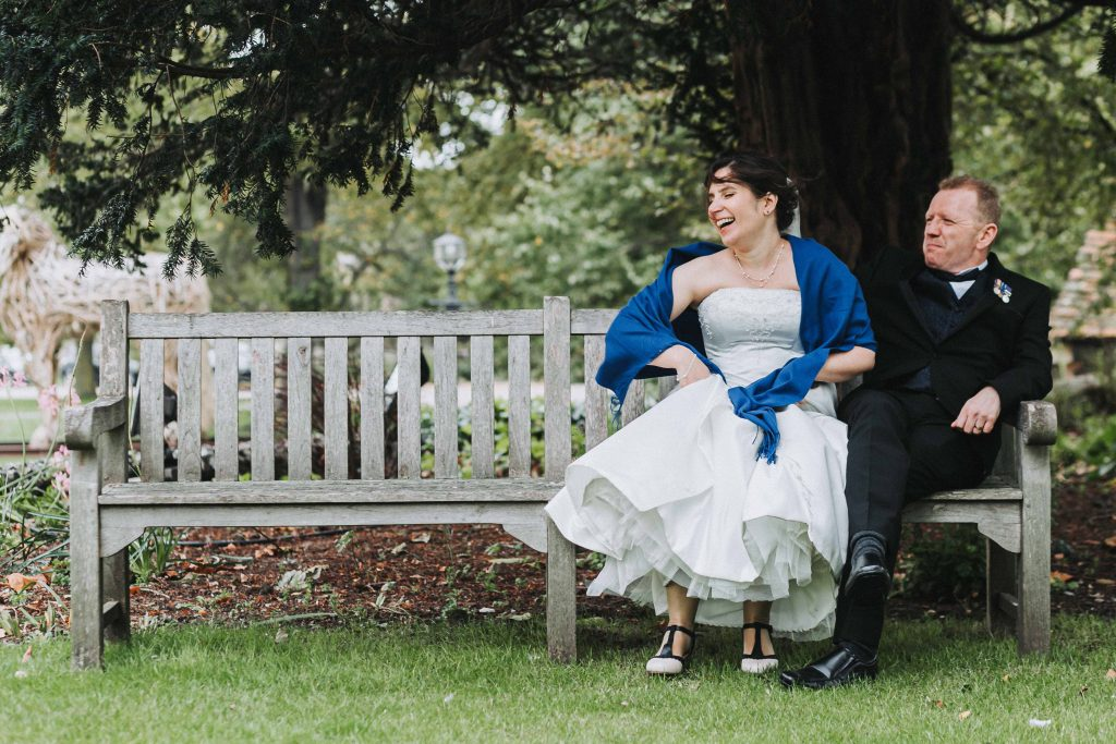wedding portraits in gardens of Canterbury Cathedral lodge