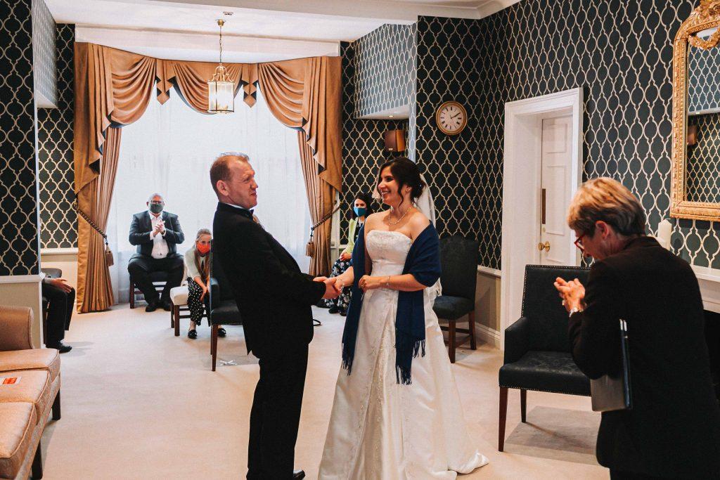 bride and groom in Canterbury registry office wedding